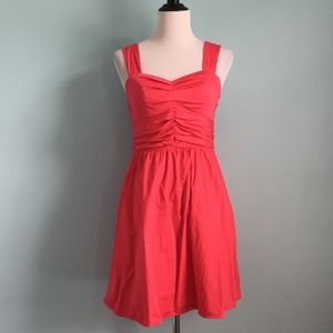 Ruched Hot Pink Sweetheart Sleeveless Dress